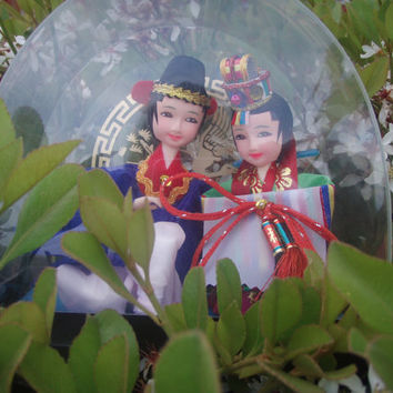 Vintage Asian Korean Bride And Groom Doll Figurines by Purana