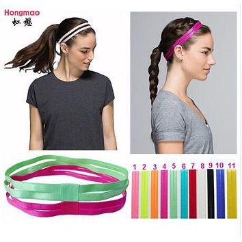 1pcs 2017 Yoga Headbands Double Elastic Headband Softball Anti-slip Silicone Rubber Hair Bands Bandage On Head For Hair Scrunchy
