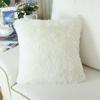 CaliTime Super Soft Throw Pillow Case Cover Plush Faux Fur 18 X 18 Inches Ivory