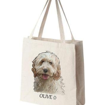 Cockapoo Color Portrait Design Extra Large Eco Friendly Reusable Cotton Canvas Tote Bag