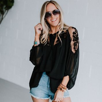 Sweet Secrets Sheer Lace Blouse - Black