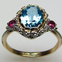 Blue Topaz & Ruby Ring - in 14K Gold