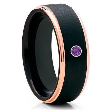 Amethyst Wedding Band - Black Tungsten Ring - Rose Gold Tungsten Band