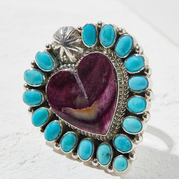 Free People Turquoise x Oyster Shell Heart Ring