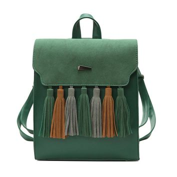 OLGITUM Korean tassel shoulder bag female 2017 new hit color stitching small backpack school students campus school bag SC108