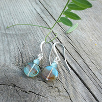 Brown Heathered Blue Earrings, Czech Glass Jewellery, Coin Earrings, Silver plated Dangle Earrings