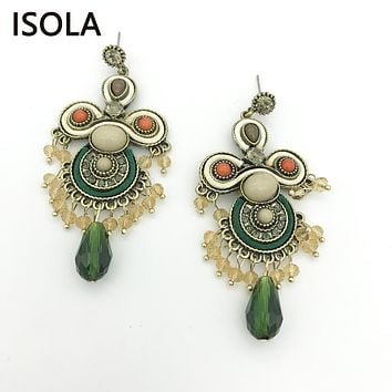 ISOLA Vintage Resin Rhinestone Filled Water Drop Soutache Earring Ethnic Style Charming Boho Earrings For Traditional Festival