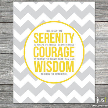The Serenity Prayer - 8x10 Print - Inspirational Christian Art - AA Motivational Gift - Multiple Color Options