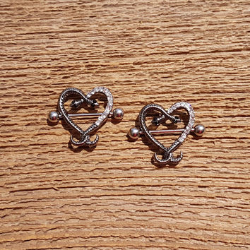 Nipple piercing. 14 gauge Snake heart with Clear Rhinestones, body piercing jewelry. Nipple piercing (bj-60-15)