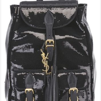 Yves Saint Laurent Black 'Festival' Backpack Women Bags