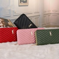 """Yves Saint Laurent YSL"" Fashion Casual Women Purse Zip Long Section Multifunction Handbag Wallet"