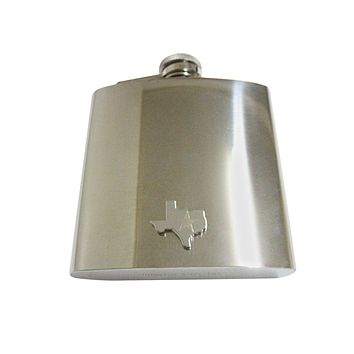 Texas State Map Shape and Flag Design 6oz Flask