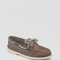 Sperry Top-sider Gray Boat Shoes Ao Metallic Piping