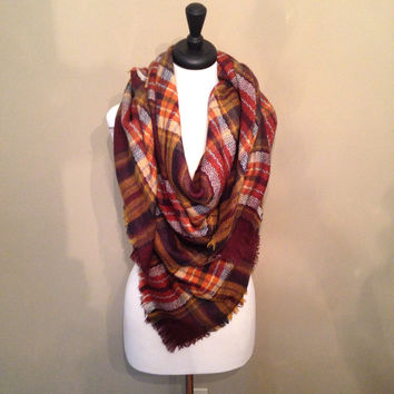 Autumn Brown Blanket Scarf by KnitPopShop