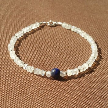Rainbow Moonstone with Lapis Lazuli Beaded Delicate Gemstone Bracelet and Sterling Silver Clasp, Boho Chic Jewelry, Stacking Bracelet