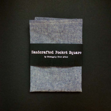 Denim blue chambray pocket square – linen and cotton mans handkerchief – modern rustic mens wedding hankie