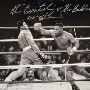 ONETOW Mike Tyson Signed Autographed 'The Greatest vs The Baddest' Glossy 16x20 Photo vs. Muhammad Ali (ASI COA)