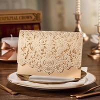 Gold Lace Wedding Invitation Card Laser Cut Party Invitation Printable Customized Pearl Unique Beautiful Set, Bridal Shower - Pack of 50