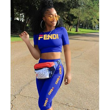 FENDI Popular Women Casual Shorts Sleeve Top Pants Trousers Set Two-Piece Sportswear