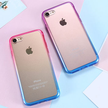 For Apple iPhone 7 Case Ultra Thin Gradient Colorful Soft TPU Frame Crystal Clear Acrylic Back Phone Cases For iPhone 7 /7 Plus