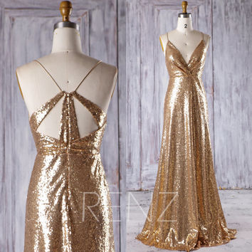 2017 Gold Sequin Bridesmaid Dress, Sexy V Neck Wedding Dress, Spaghetti Straps Prom Dress, Metallic Sparkle Ball Gown Floor Length (HQ398)