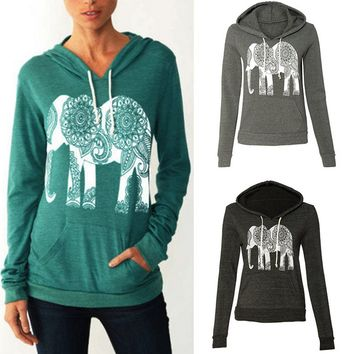 Hooded coat pocket size sweater female elephant