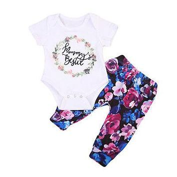 Newborn Baby Girl Clothes Sets Letter Jumpsuit Bodysuit Tops Short Sleeve Flower Pants Clothing Set Outfits