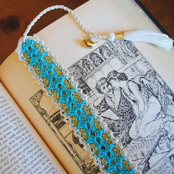 Crochet lace bookmark with a tassel and ribbon, Egyptian cotton, teal and ecru, Aladdin's lamp charm