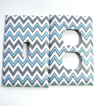 Light Switch Cover Set - Light Switch Plate Blue Gray Chevron