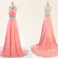 peach prom dresses, long prom dresses, halter prom dress, cheap prom dresses, prom dresses under 200, dresses for prom, prom dresses, RE508