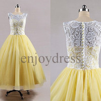 Custom White Lace Yellow Tulle Long Prom Dresses Evening Dresses Fashion Party Dresses Bridesmaid Dresses 2014 Wedding Party Dresses