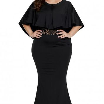 Black Cape Overlay Plus Size Maxi Dress
