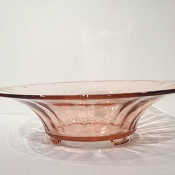 Fostoria Fairfax Pink Depression Glass Console Bowl, 3 Toed Console Bowl