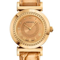 Women's Versace 'Vanity' Leather Strap Watch, 35mm - Rose Gold