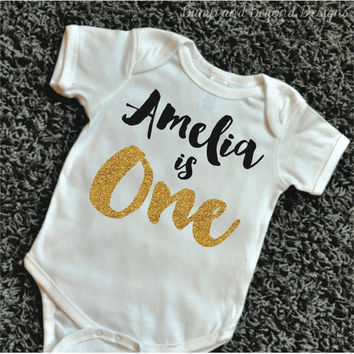 First Birthday Outfit Girl Shirt PERSONALIZED One Year Old Gold Glitter Golden
