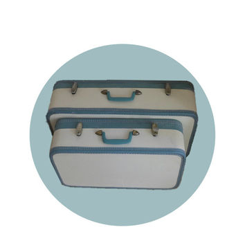 Vintage Turquoise and Cream Mid Century Stacking Hard Case Travel Suitcase Luggage Set
