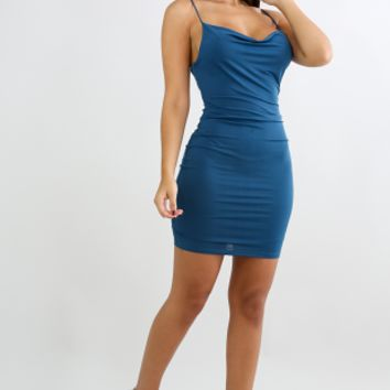 Mini Draped Body Con Dress (Teal)