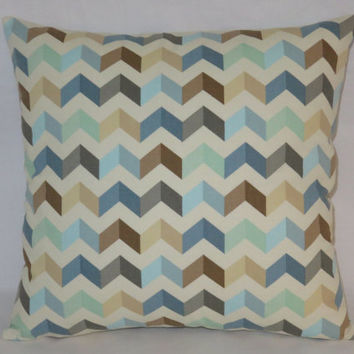 "Seaglass Chevron Pillow, 17"" Sq. Cotton, Waverly Tip Top Etheral,  Blue Mint Grey Brown White, Zipper Cover Only or Insert Incl, Ready  Ship"