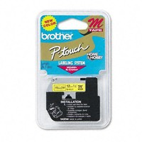 Brother P-Touch Products - Brother P-Touch - M Series Tape Cartridge for P-Touch Labelers, 1/2w, Black on Yellow - Sold As 1 Each - Create attractive labels for indoor use at home, office and school. - Best for flat, dry surfaces. -