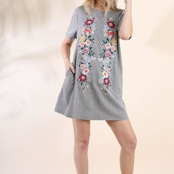 Grey Floral Embroidered Pocket Dress