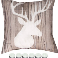 "Manual Woodworkers Greystone Lodge 1 Climaweave Indoor/Outdoor 18x18"" Pillow with 6-Pack of Tea Candles"