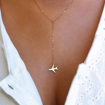ac NOOW2 1pcs Gold / Silver Airplane Pendant with 43+5cm Adjustable Chain Layered Necklace For Women Tiny Dainty Necklace SGL227