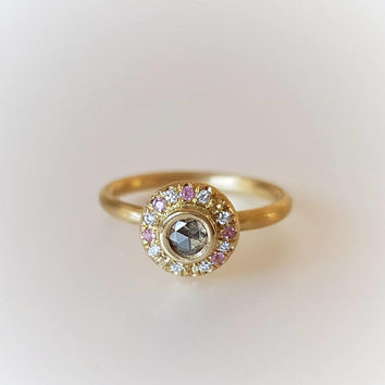 Stack Ring in Solid 18k Gold with a Champagne Diamond and Sapphires . Halo Diamond Ring  .Pink Sapphire Ring .Diamond Ring .Engagement Ring