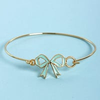 In the Bow Mint and Gold Bow Bracelet