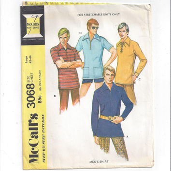 McCall's 3068 Pattern for Men's Shirt for Stretch Knits, Casual or Costume Shirt, Vintage Pattern, Sz Chest 42-44, from 1971, Sewing for Men