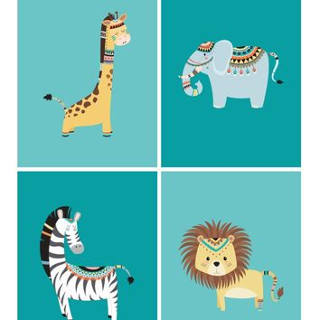 Tribal Safari Nursery Prints - Boho Nursery Art Print Set of 4 - Lion, Elephant, Zebra & Giraffe - Multiple Sizes