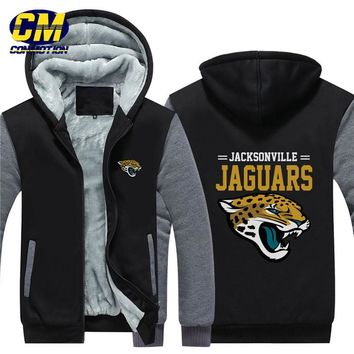 NFL American football winter thicken plus velvet zipper coat hooded sweatshirt casual jacket Jacksonville Jaguars