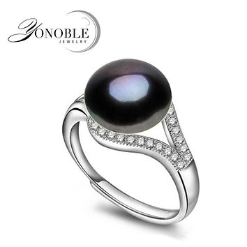 Natural pearl rings wedding freshwater Black Rings for Women adjustable ring 925 silver jewelry girl engagement Birthday Gift