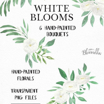 Watercolour Wedding Floral Clipart - 6 Bouquets Arrangements - Hand Painted INSTANT DOWNLOAD Green Spring Summer PNGs White Flowers digital