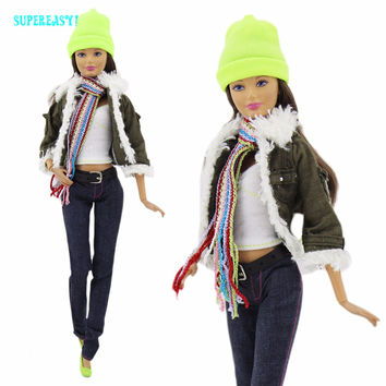 Winter Fashion Modern Outfit Casual Wear Army Green Coat Jacket Scarf Shirt Hat Belt Pant Shoes For Barbie Doll Clothes Gift